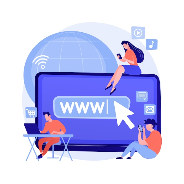 Internet addiction abstract concept vector illustration. real-life substitution, living online disorder, web addiction, digital addictive behavior, internet overuse, social media abstract metaphor. Free Vector