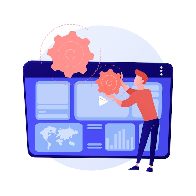 인터넷 광고 분석. seo, 마케팅, 보고서 인포 그래픽. 디지털 프로모션, 소셜 미디어 네트워크 광고. 비디오 콘텐츠 프로모션 개념 그림 무료 벡터