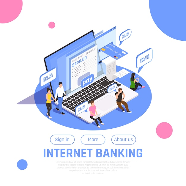 Internet banking home page isometric with sign in button online payment money transfer composition Free Vector
