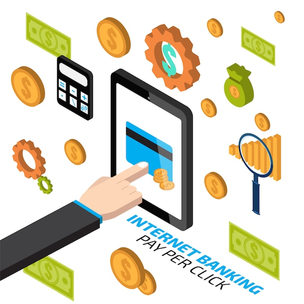 Internet banking with hand touching tablet. pay per click Premium Vector