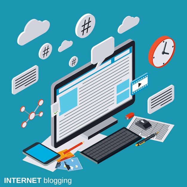 Internet blogging flat isometric vector concept illustration Premium Vector