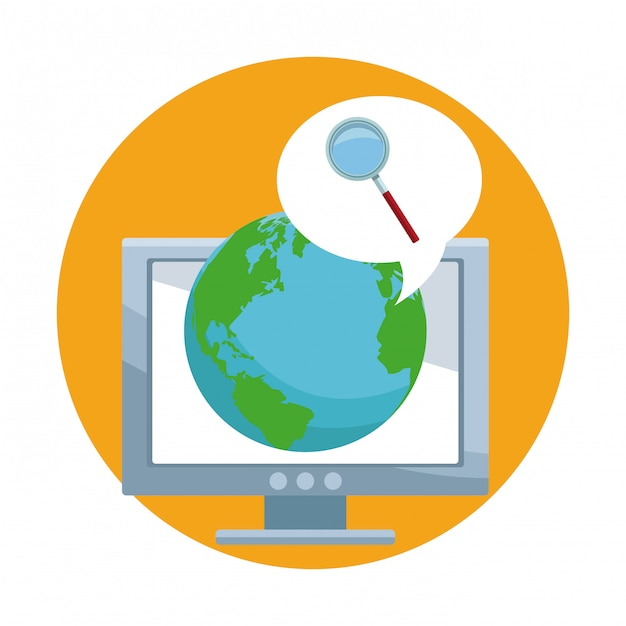 Internet browsing in the world Premium Vector