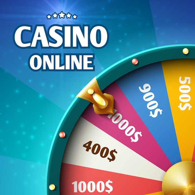 Internet casino marketing background with spinning fortune wheel. Premium Vector