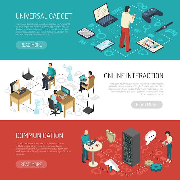 Internet communication networks banners Free Vector