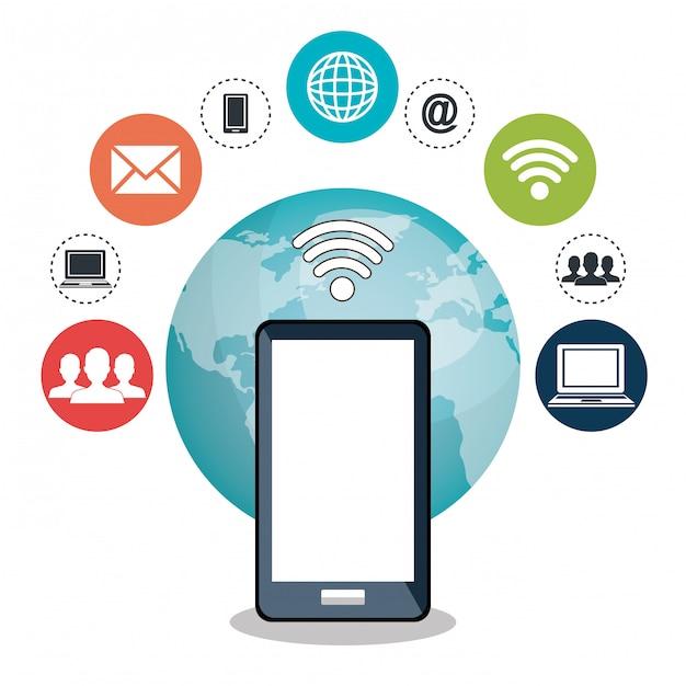 Internet communication Free Vector