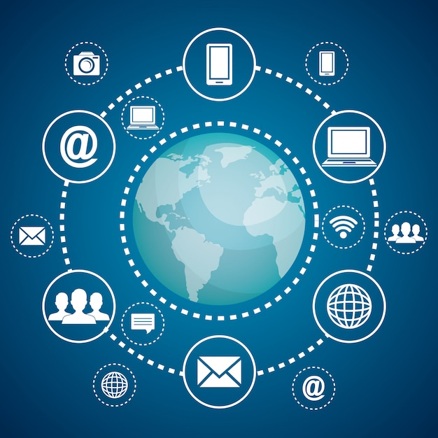 Internet communication Free Vector