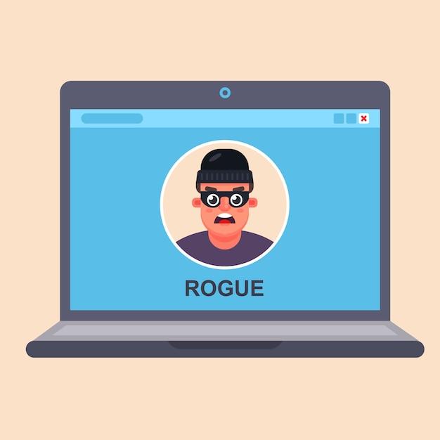 Internet computer fraud. criminal in a laptop monitor. flat vector Premium Vector