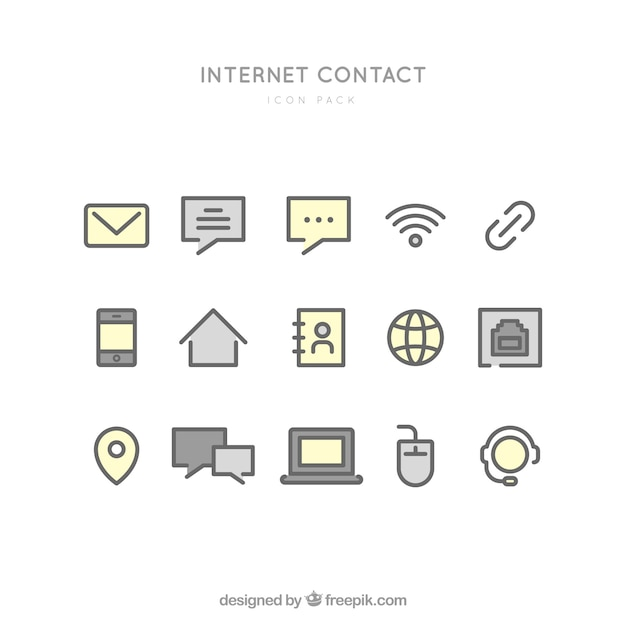 Internet contact icons Free Vector