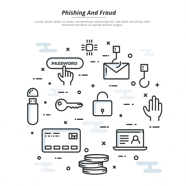 Internet cyber attacks, phising and fraud heck concept, flat style. fin-tech (financial technology) background. Premium Vector