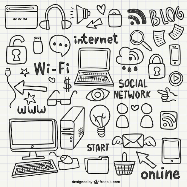 Internet doodles Free Vector