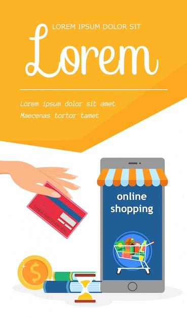 Internet grocery store template Premium Vector