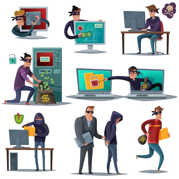 Internet hacker security composition set Free Vector