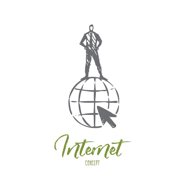 Internet illustration in hand drawn Premium Vector