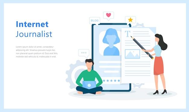 Internet journalist concept. idea of blogging and content writing Premium Vector