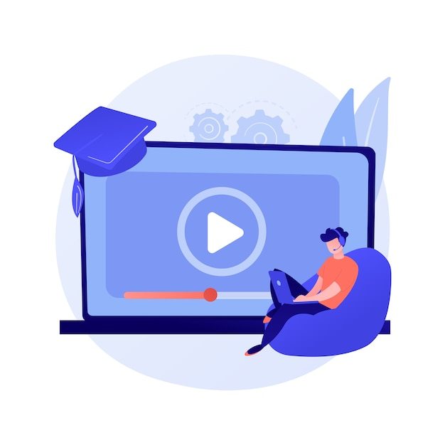 Internet lessons searching. remote university, educational programs, online classes website. high school student with magnifying glass cartoon character Free Vector