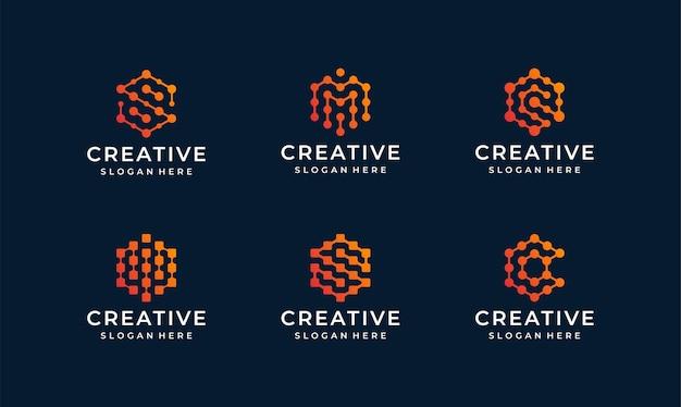 Internet line logo  bundle Premium Vector
