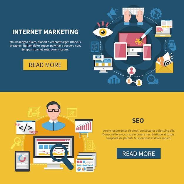 Internet marketing banners Free Vector