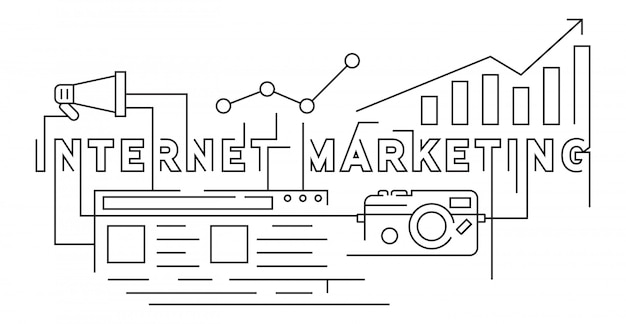 Internet marketing flat line doodle style Premium Vector