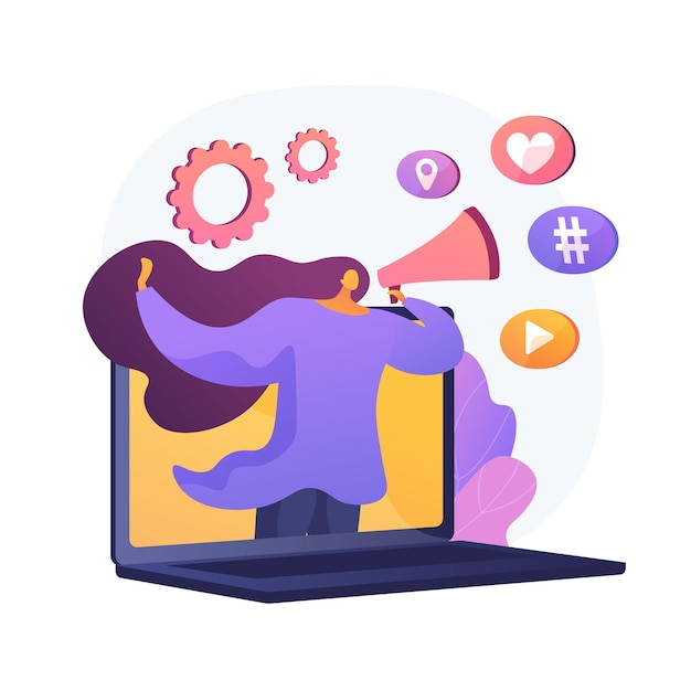 Internet marketing. girl with loudspeaker making announcement. advertisement, commercial, notification. using social network to promote goods. Free Vector