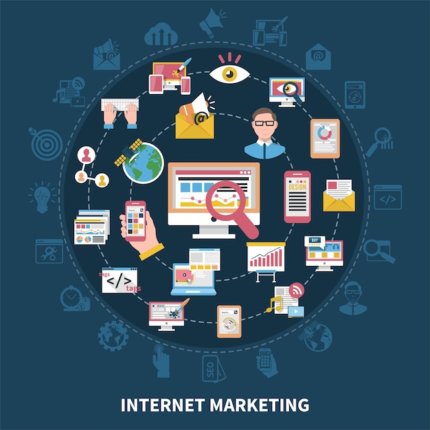 Composizione rotonda di marketing su internet Vettore gratuito