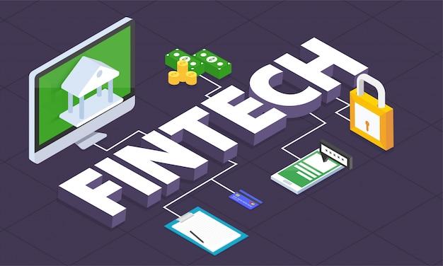 Internet money, secure payment transaction, payment mechanism. fintech (financial technology) background. 3d style. Premium Vector