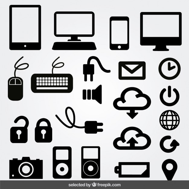 Internet monochrome icons set Free Vector