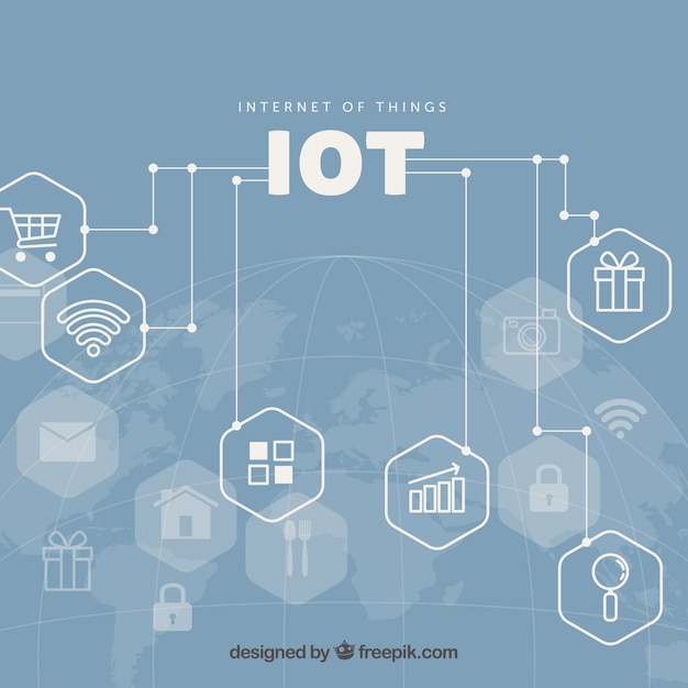 Computer Lab Decoration ~ Internet of things conected background vector free download