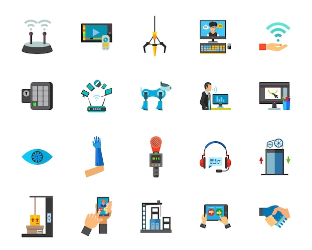 Internet of things icon set Free Vector