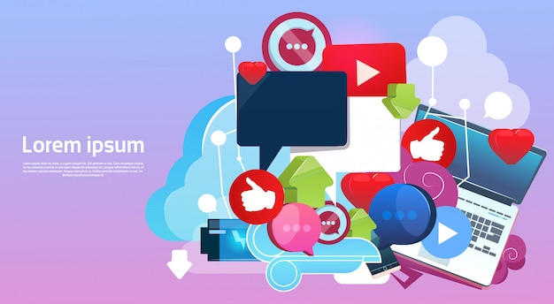 Internet online blogging social network communication concept Premium Vector