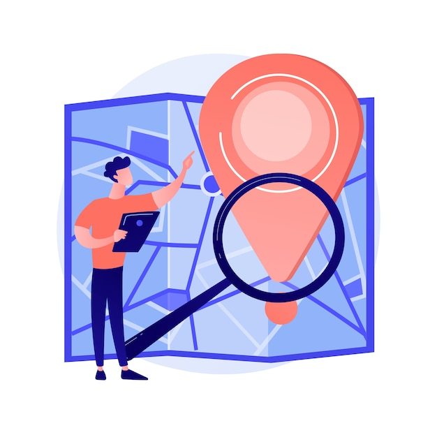 Monitoraggio della consegna degli ordini via internet. elemento di design piatto del sito web di servizio di navigatore gps. puntatore, lente d'ingrandimento, mappa. pianificazione online del percorso, illustrazione del concetto di ricerca del percorso Vettore gratuito