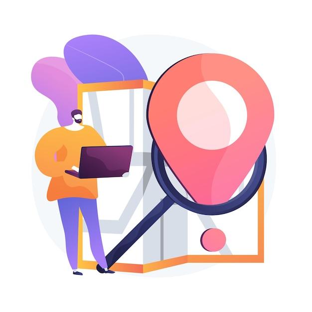 Monitoraggio della consegna degli ordini via internet. elemento di design piatto del sito web di servizio di navigatore gps. puntatore, lente d'ingrandimento, mappa. pianificazione online del percorso, ricerca del percorso. Vettore gratuito