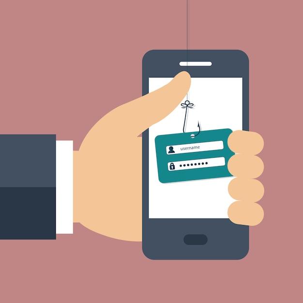 Internet phishing a login and password concept Premium Vector