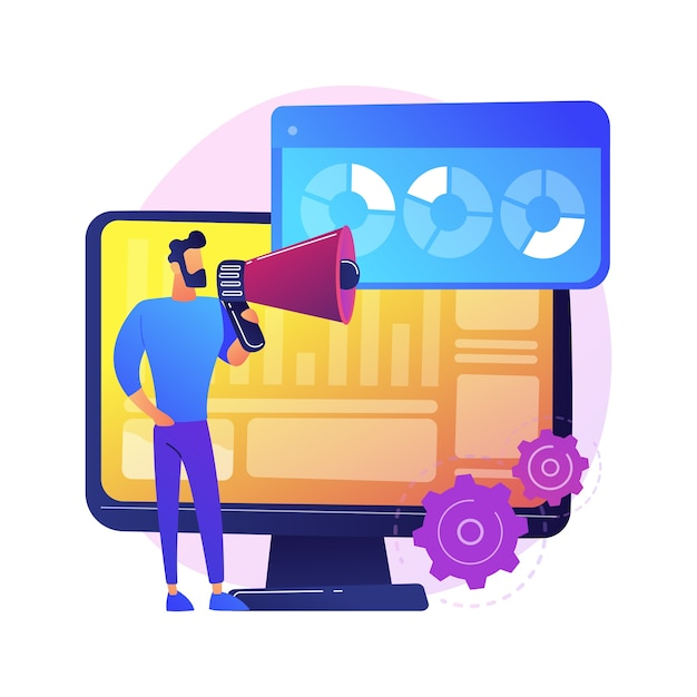 Internet poll results. marketing survey, report analyzing, questionnaire. marketer cartoon character with megaphone. infographics on monitor screen. Free Vector