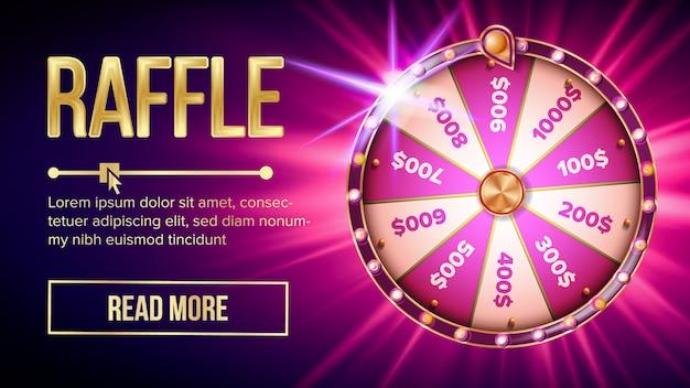 Internet raffle roulette fortune banner Premium Vector