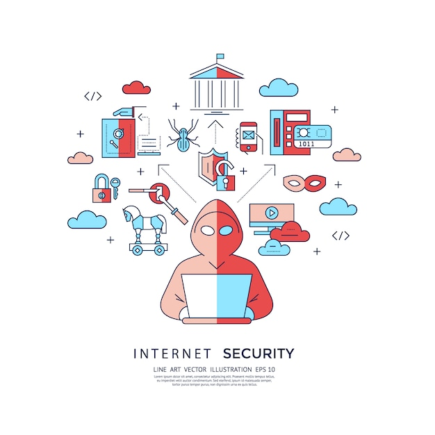 Internet security background Free Vector
