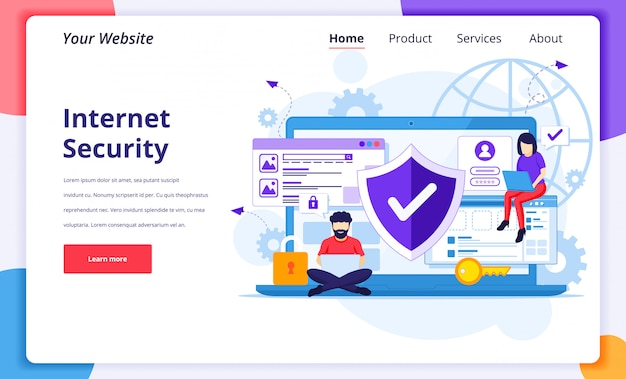 Internet security concept, people work on laptop, secure internet connection. landing page design template Premium Vector