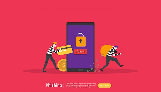 Internet security concept with character Premium Vector
