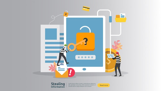 Internet security concept with people character. password phishing attack. stealing personal information data web Premium Vector
