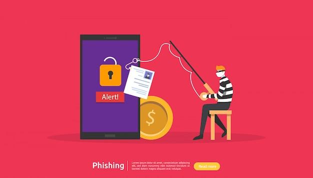 小さな人格のインターネットセキュリティの概念。パスワードフィッシング攻撃。個人データを盗む。 webランディングページ、バナー、プレゼンテーション、ソーシャル、および印刷メディアテンプレート。図 Premiumベクター