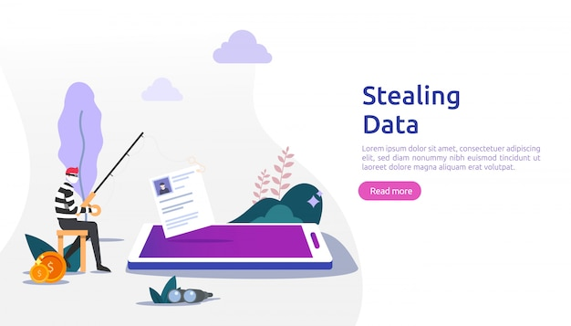 Internet security concept with tiny people character. password phishing attack. stealing personal data. web landing page, banner, presentation, social, and print media template. illustration Premium Vector