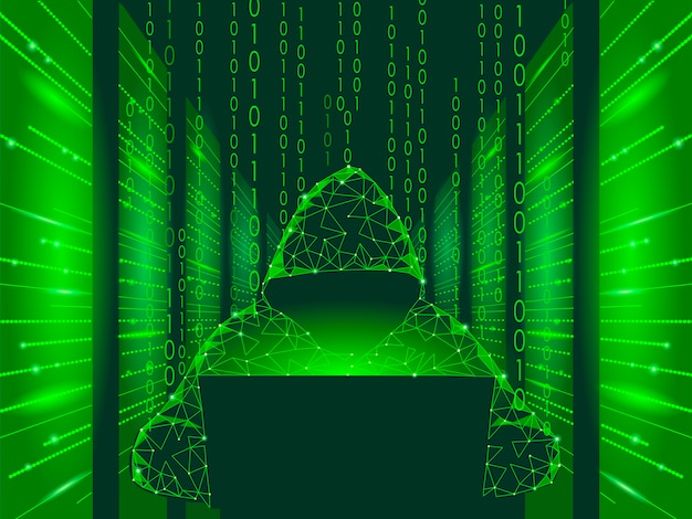 Internet security cyber attack business concept low poly, anonymous hacker Premium Vector