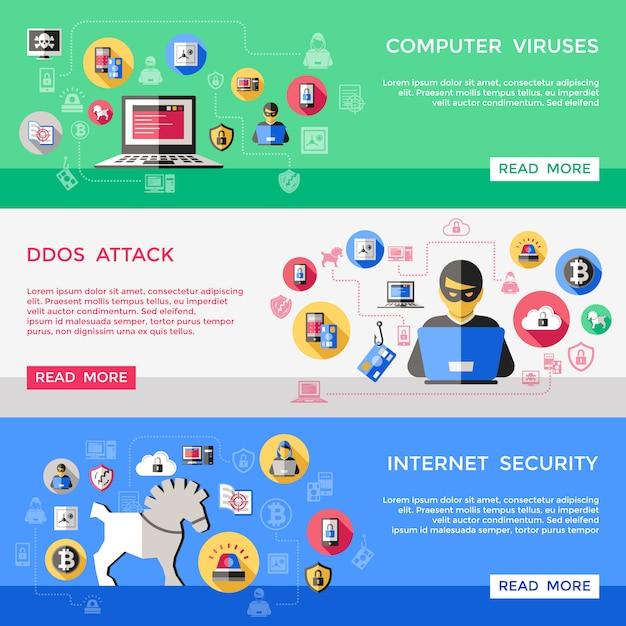 インターネットセキュリティの水平方向のバナーセット 無料ベクター