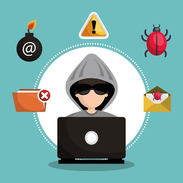 Internet security information icon Premium Vector