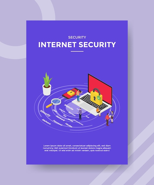 Internet security people padlock on laptop for template of  flyer Premium Vector