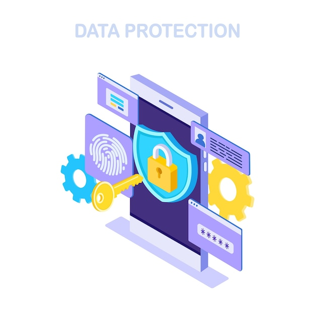 Internet security, safety and confidential personal data protection Premium Vector