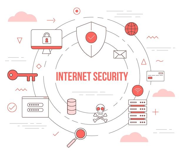 モダンなオレンジ色のスタイルのイラストセットテンプレートのインターネットセキュリティ技術コンセプト Premiumベクター