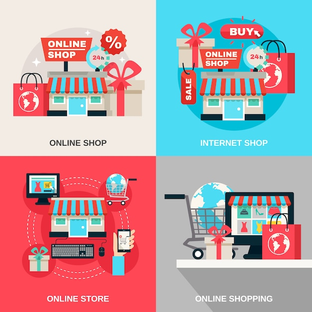 Internet shopping decorative icon set Free Vector