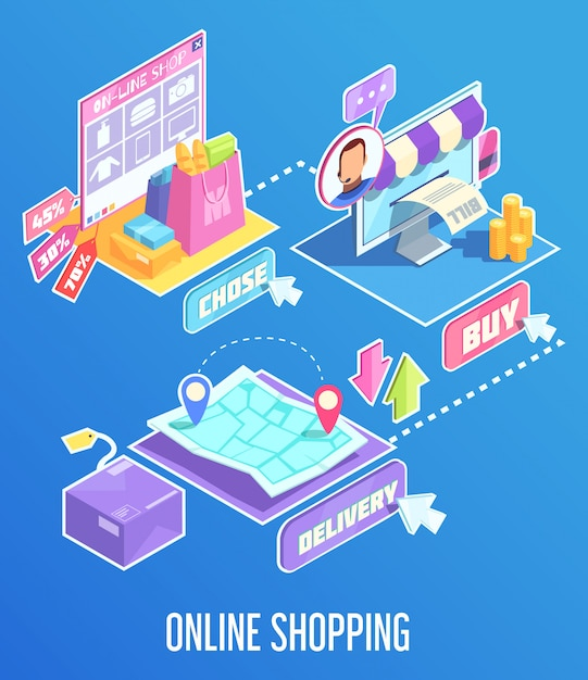 Internet shopping isometric composition Free Vector