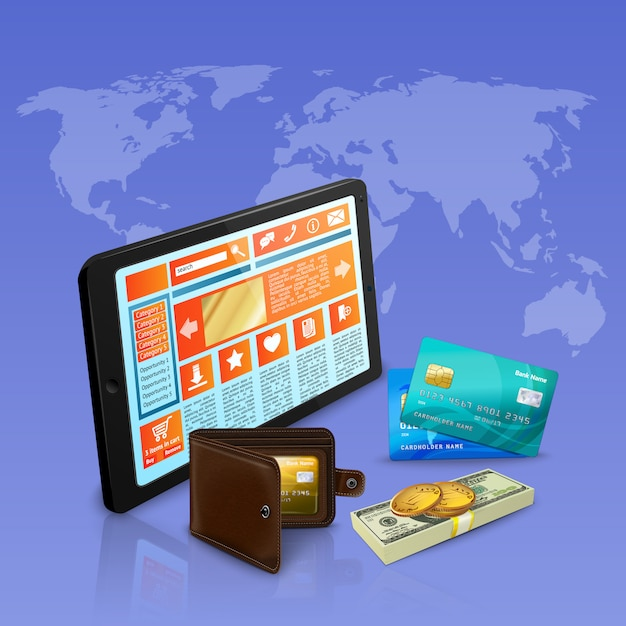 Internet shopping online payment with banking cards realistic composition on violet with world map illustration Free Vector