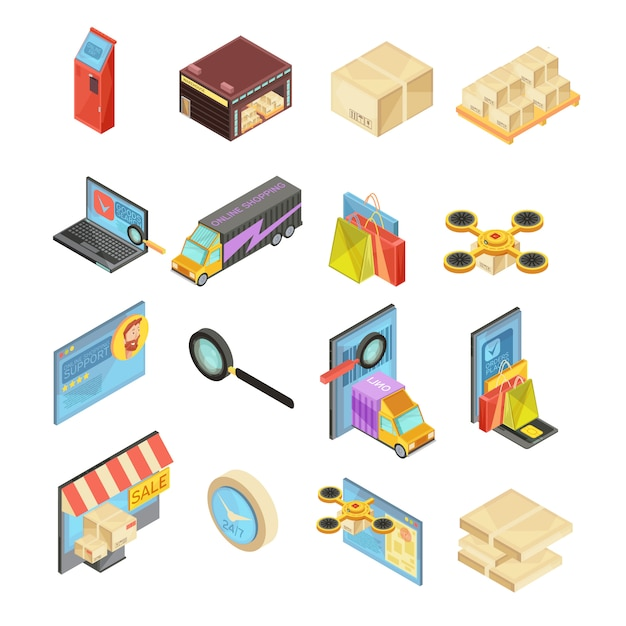 Internet store isometric set with search of goods, warehouse, delivery tracking, online payment, package isolated vector illustration Free Vector